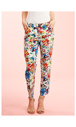 Zac & Rachel  Printed Cotton Twill Pant - Orange Multi - Size: 12