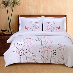 Superior Watches Swallow White/Red 100 Cotton Duvet Set