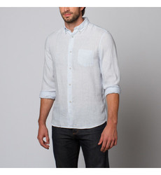 Slate & Stone Men's Charter Cotton Linen Shirt - Sky - Size: Medium