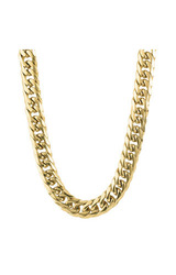"""Men's 24"""" Stainless Steel Polished Curb Chain Necklace - Gold"""