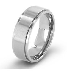 West Coast Jewelry Men's Brushed Titanium Wedding Band - Size: 7mm