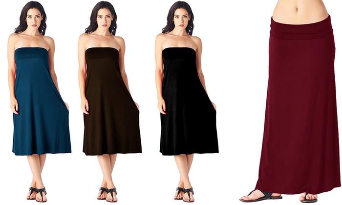 a743073fbebbb Popana Women s Plus Size Convertible Maxi Skirt - Burgundy - Size 2X ...
