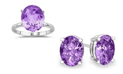 Sterling Silver 7 CTTW Genuine Amethyst Ring & Earring Set - Size: 8