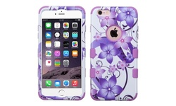 Insten Hibiscus Flowers Hybrid Case for iPhone 6/6S/Plus - Purple/White