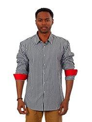 Gingham Plaid Long Sleeve Shirts: Black/xl