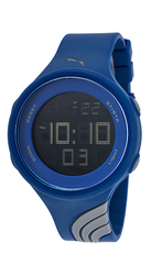 Puma Men's Twist Digital Display Quartz Blue Watch- Grey Navy - Size: L