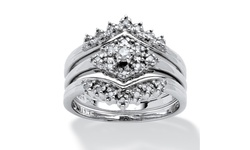 Palm Beach Jewelry 1/4 TCW Diamond Bridal Set in Platinum over Silver