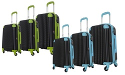 Brio Luggage 3 Piece Hardside Spinner Luggage Set - Black/Blue