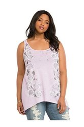 Torrid Women's Plus Size Floral Sharkbite Tank Top - Lavender - Size: 1XL