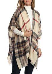 V Fraas Lightweight Plaid Ruana - Camel - Size: One Size