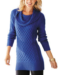 Hannah Women's Solid Color Marilyn Tunic Sweater - Blue - Size: X-Large