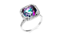 MJS Women's 6.00 CTTW Genuine Mystic Quartz Ring in Sterling Silver - Size: 9