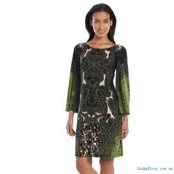Ronni Nicole Scroll Print Sweater Dress - Olive/Black - Size: 8