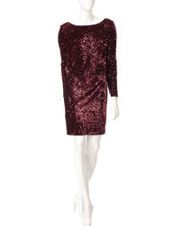 Chetta B Women's Velvet Sequin Merlot Dress - Red - Size: 8