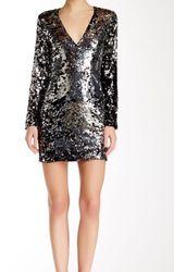 Rachel Zoe Women's Muse V-Neck Sequin Dress - Black/Silver - Size: 6