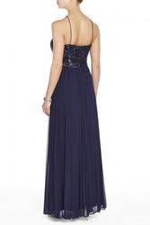 Melanie Lyne Women's Cachet Beaded Halter Top Gown - Navy - Size: 4