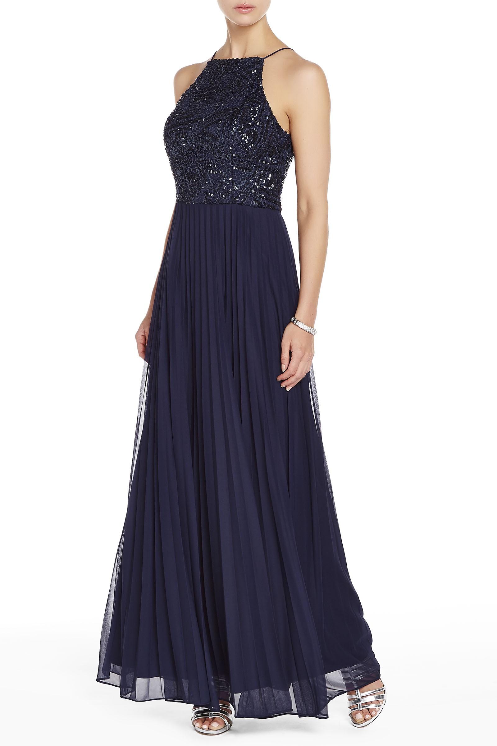566647d0ac Melanie Lyne Women's Cachet Beaded Halter Top Gown - Navy - Size: 4 ...