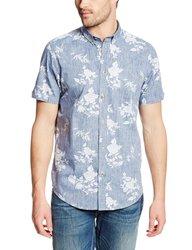 Ben Sherman Men's Reverse Floral Print Woven Shirt - M Blue - Size: L