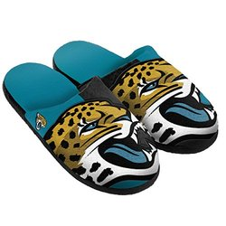 NFL Jacksonville Jaguars Split Color Slide Slipper - Green - Size: Medium