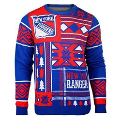 NHL New York Rangers Patches Ugly Sweater - Blue - Size: Medium