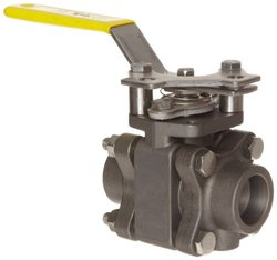 "Apollo 83B-240 Series Carbon Steel Ball Valve with Stainless Steel 316 Ball and Stem, Three Piece, Inline, Class 600, Lever, 1"" Socket Weld"