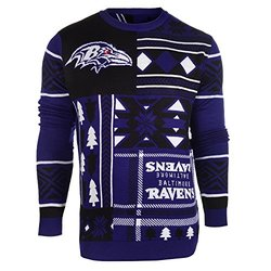 NFL Baltimore Ravens Patches Ugly Sweater - Black - Size: Small