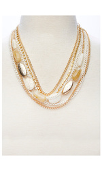 Stella & Ruby Multi Layered Chain with Bead Necklace - Gold - Size: One