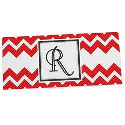 "KESS InHouse KESS Original ""Monogram Chevron Red Letter R"" Office Desk Mat, Blotter, Pad, Mousepad, 13 x 22-Inches"