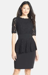 Nue by Shani Women's Removable Lace Peplum Sheath Dress - Black - Size: 6