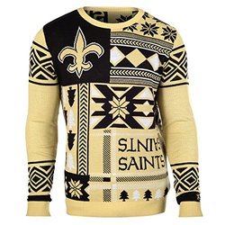 Klew NFL New Orleans Saints Patches Ugly Sweater - Black - Size: Large