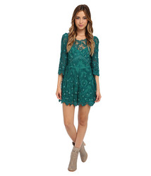 Free People Women's Songbird Embellished Romper - Emerald - Size: 10