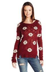 Pink Rose Women's Aztec Print Sweater - Brandy Wine/Oatmeal - Size: L