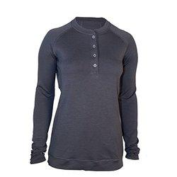 Showers Pass Women's Long Sleeve Bamboo Merino Sport Henley Shirt, Medium, Grey