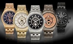 Men's Watch: Paul Perret Musset 62626259 Gunmetal Band-Rose Dial