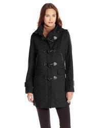 Tommy Hilfiger Women's Plaid Trim Wool Duffle Coat - Black - Size: M