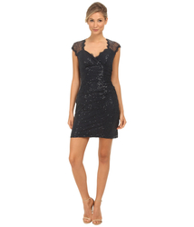 RSVP Women's Sequin Short Dress with Keyhole Back - Navy - Size: 8
