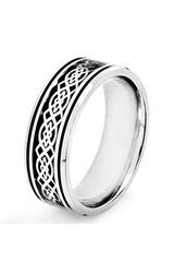 Men's Stainless Steel Black Carbon Fiber Celtic Knot Ring - Size: 10
