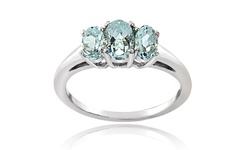 Silver Speck Women's Sterling Silver 3 Stone Half Eternity Ring - Size: 10