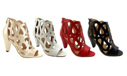NY VIP 817 Heeled Sandals with Cut-Out Design - Beige - Size: 8.5