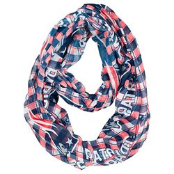 NFL New England Patriots Women's NFL Sheer Infinity Scarf, Plaid, Blue, One Size Fits All