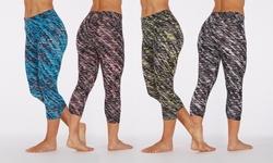 Bally Fitness Women's Slanted Print Leggings: Black/medium
