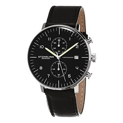 Stuhrling Original Men's Chronograph Watch: 16055 Black Band-Black Dial