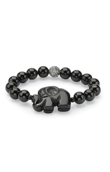 Women's 8O Naturalist Agate Elephant/Crystal Beaded Stretch Bracelet -Blk