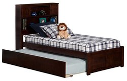 Atlantic Furniture Newport Bookcase Bed in Antique Walnut - Twin