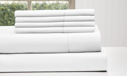 Wexley Home 1200TC Cotton Rich Sheet Set 6PC - White - Size: Q