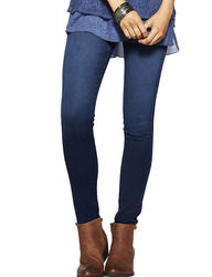 Hannah Women's Silky Denim Jeggings - Dark Blue - Size: L