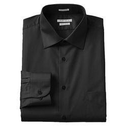 Van Heusen Men's Lux Sateen Dress Shirt - Black - Size: X-Large