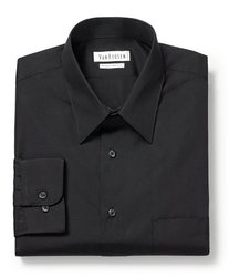 Van Heusen Men's Regular Fit Poplin Dress Shirt - Black - Size: XL