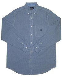Chaps Men's Long Sleeve Checked Poplin Button Down Shirt - J Blue - Size:
