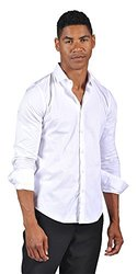 OTB Mens Button Down Fitted Shirt - White - Size: White